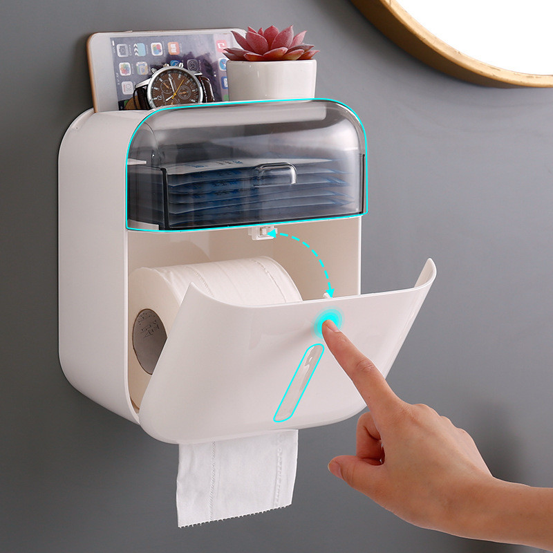 New Bathroom Waterproof Tissue Box Plastic Toilet Paper Holder Wall Mounted Storage Box Double Layer Napkin Organizer Shelf WC