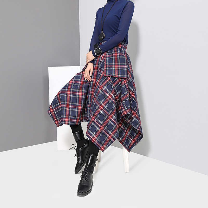 2020 Koreaanse Stijl Vrouwen Rode Plaid Asymmetrische Rok & Sjerpen Gedrukt Hoge Taille Dames Casual Mode Unieke Gordel Rok 3027