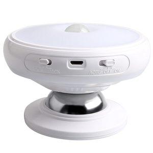Ночной светильник с датчиком движения, съемная Магнитная база, перезаряжаемый через USB светодиодный, индукционный Ночной светильник с вращением на 360 градусов (W