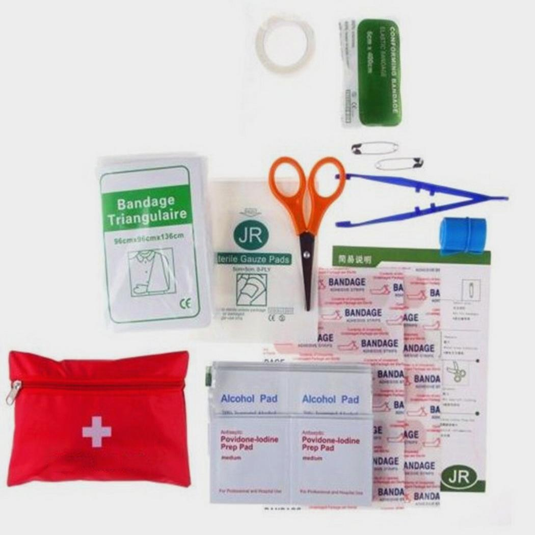 Outdoor First Aid Treatment Bag Travel Set Of (12Pcs) Home Office Car Emergency Medical Kit Red
