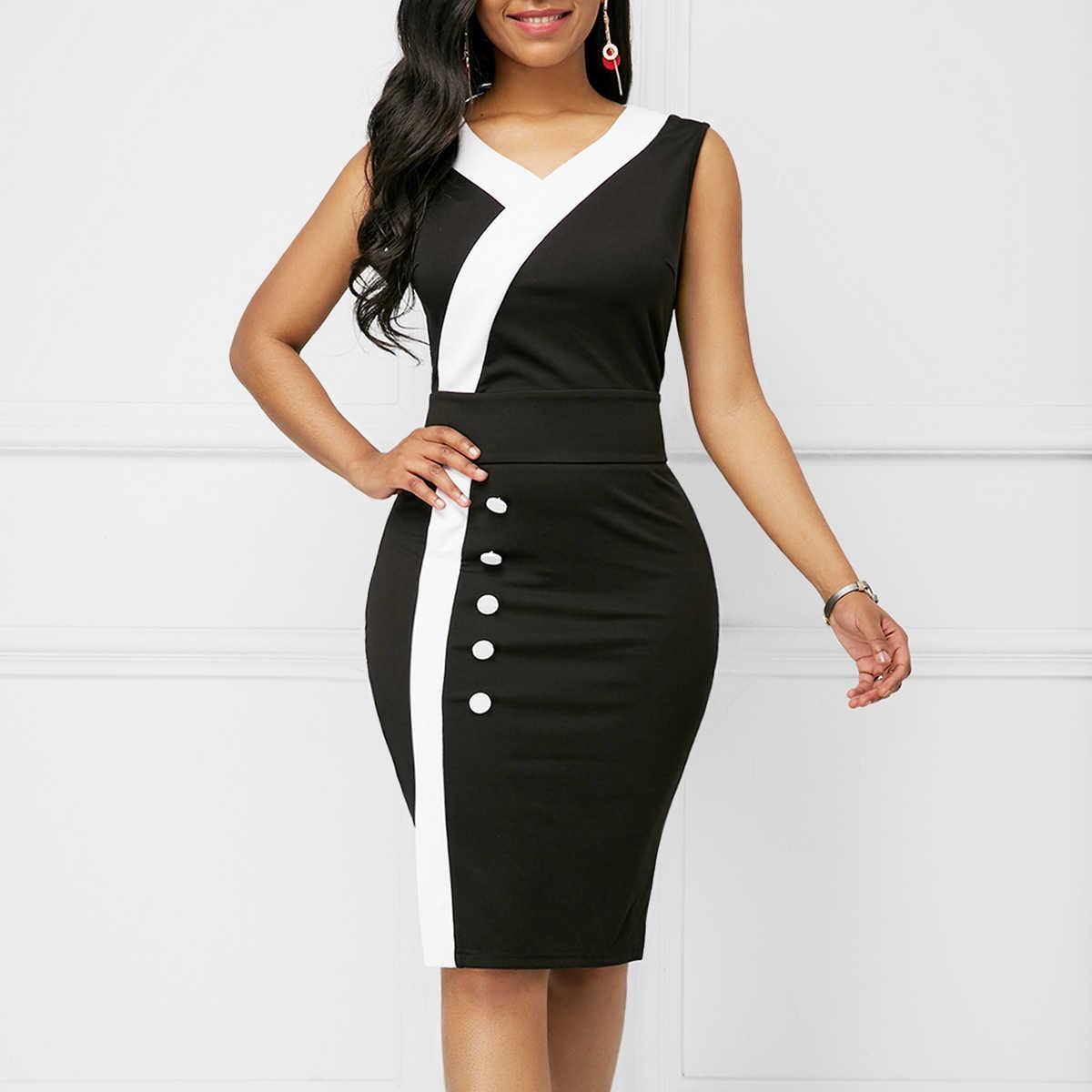 Patchwork noir blanc robe d'été femmes 2019 décontracté grande taille mince bureau robes moulantes élégant Sexy col en V Midi robe de soirée