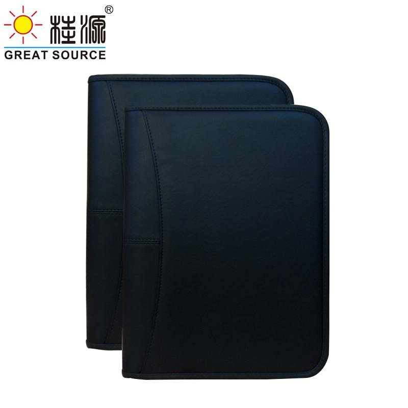 A4 Compendium Binders Folder A4 Multifunctional Zipper Leather Business Bag For A4 File Paper Organizer Portfolio Folder(3PCS)