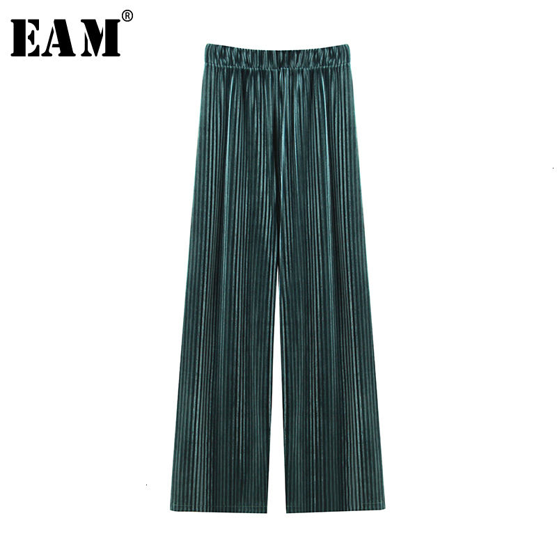 [EAM] High Elastic Waist Green Long Pleated Wide Leg Trousers New Loose Fit Pants Women Fashion Tide Spring Autumn 2019 1D362