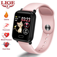 LIGE New Pink Smart Bracelet Women Men Fitness Watch Heart Rate Blood Pressure monitor Smart Sport Wristband For IOS Android все цены