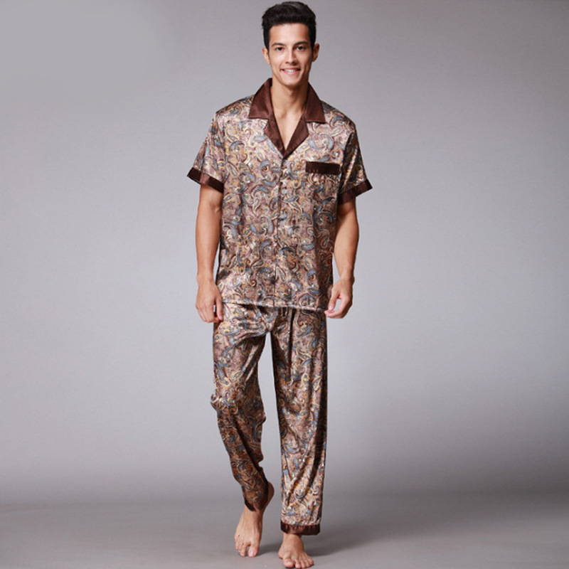 Men Silk Satin Summer Autumn Kimono Pijiama Print  Long Sleeve Pants Pajamas Gown Korean Two Piece Pajama Sets Coffee Sleepwear