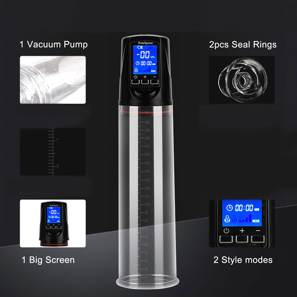 Automatic Penis Enlargement Pump Sex Shop Toys For Men Penis Extender Electric USB Rechargeable Big Screen Vacuum Dick Pump Kit in Pumps Enlargers from Beauty Health