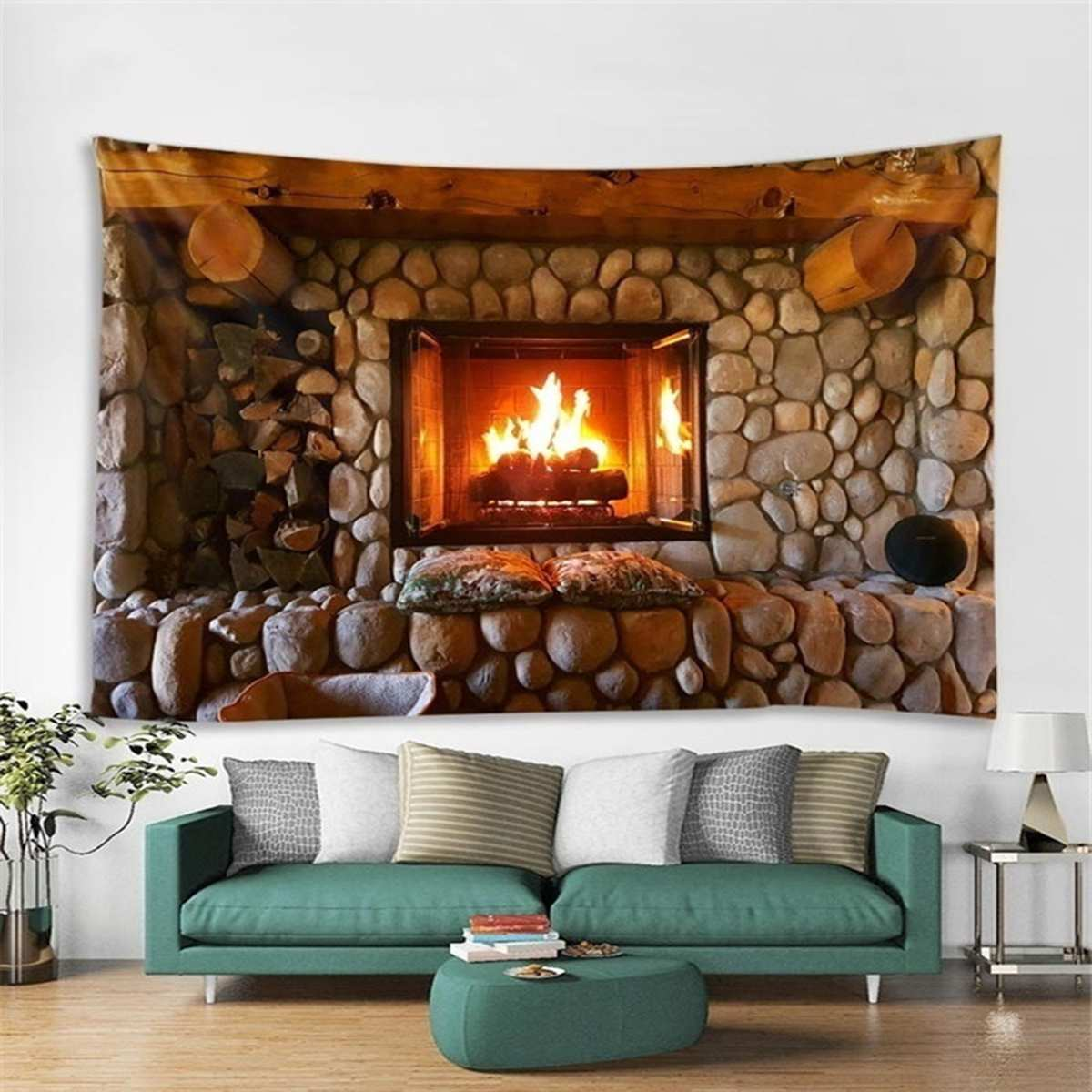 Tapestry Fireplace Style Warm Feeling Beautiful Home Decoration Cool Polyester Thin Wall Hanging Cloth