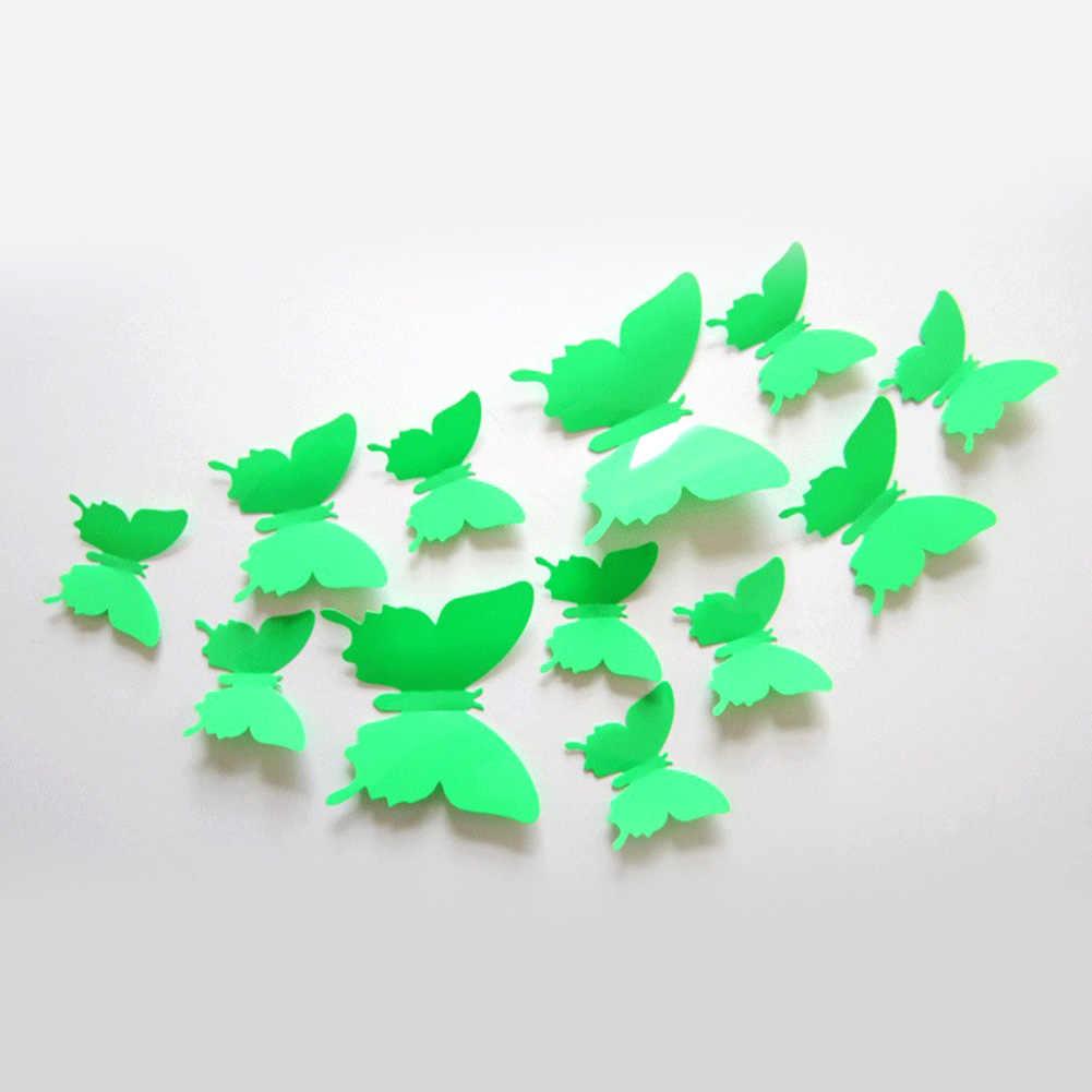 12 Teile/los Schmetterlinge Wand Aufkleber Decals 3D Aufkleber für Schlafzimmer Neue Jahr Zu Hause Dekorationen 3D Schmetterling PVC Tapete Aufkleber