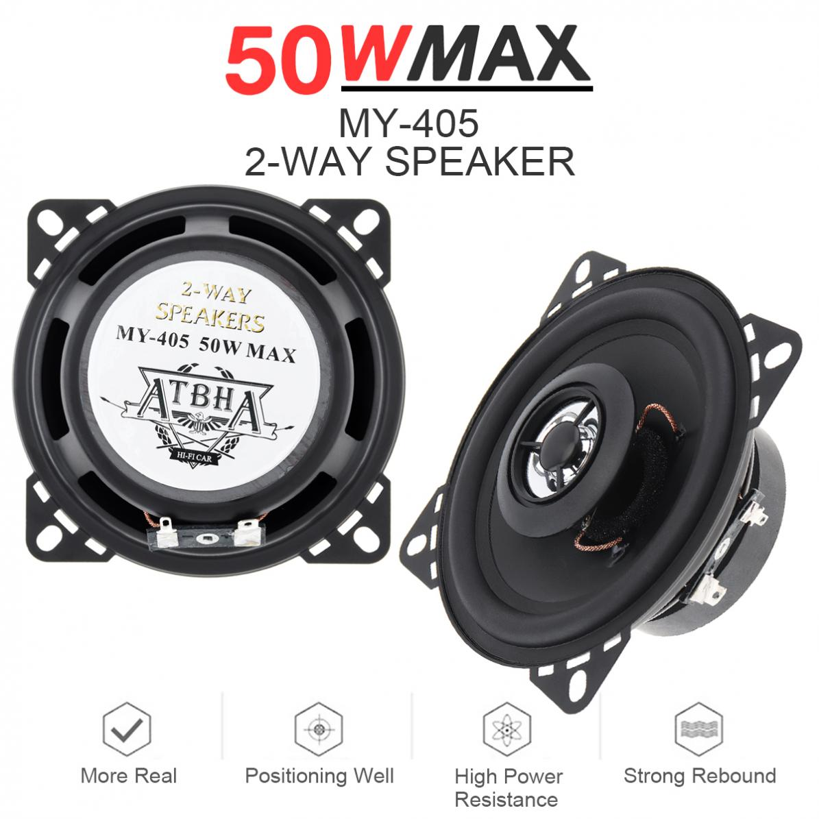 1pcs 4 Inch 12V 10mm <font><b>50W</b></font> 2-Way Car HiFi Coaxial <font><b>Speaker</b></font> Vehicle Door Auto Audio Music Stereo Full Range Frequency <font><b>Speakers</b></font> image