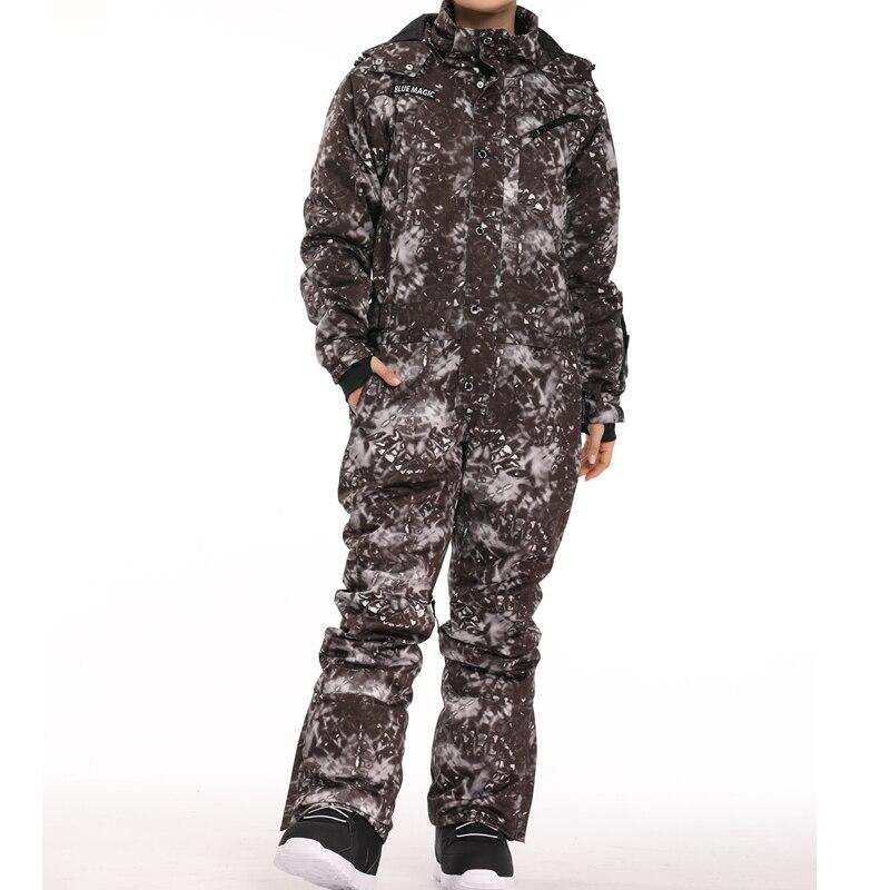 Синий волшебный водонепроницаемый Сноубординг цельный лыжный комбинезон для мужчин сноуборд-30 градусов лыжный костюм зимняя одежда комбинезон - Цвет: black tiedye