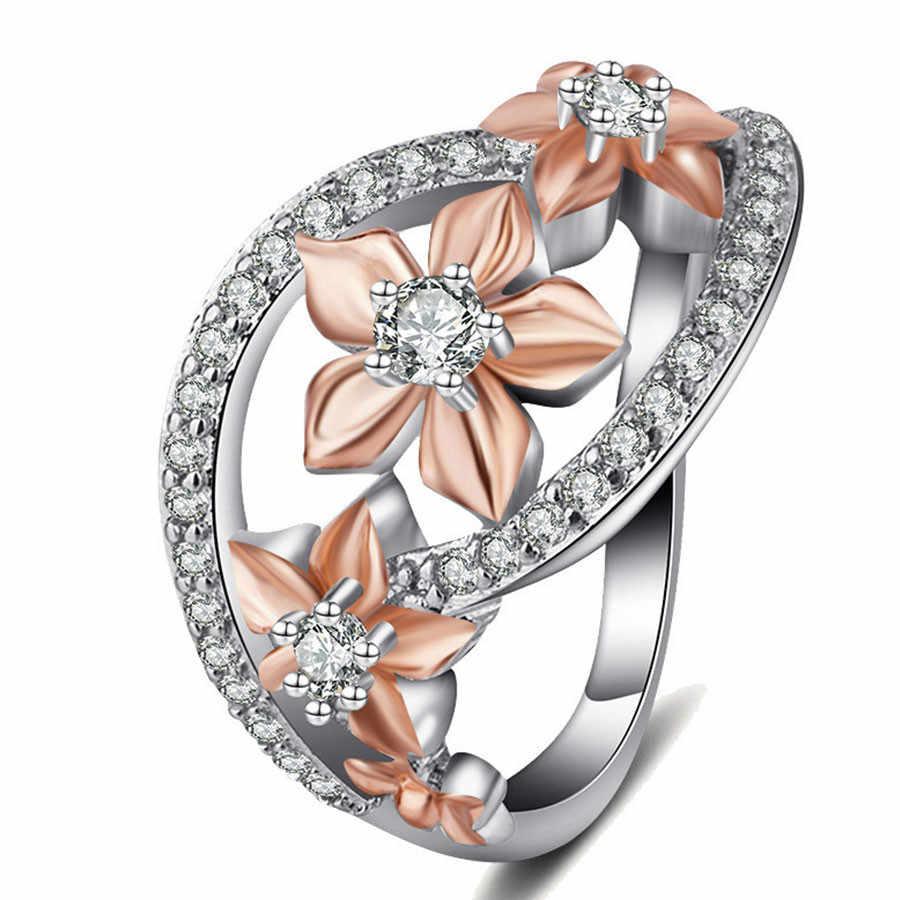 Romantische Champagner Emaille Blume Ring Weibliche Schöne Mikro Pflastern Zirkon Damen Finger Ring Einzigartige Frauen Engagement Ring Schmuck