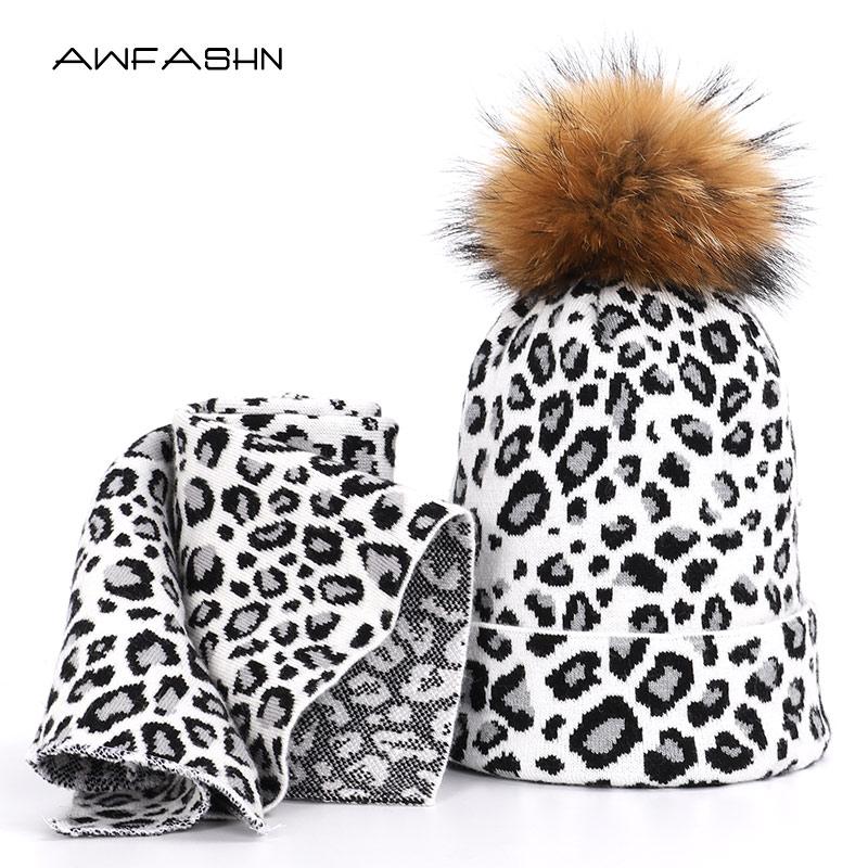 2019 New Winter Pompom Knit Beanie Scarf 2 Pieces Set Women Fashion Leopard Casual Hat Scarves Thicken Soft Cap Warm Bonnet Ski