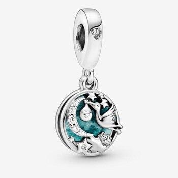 JrSr New 100% 925 Sterling Silver Starry Night Sky Pendants Beads Fit Pandora Bracelets Women Fashion Jewelry Mother's Day Gifts