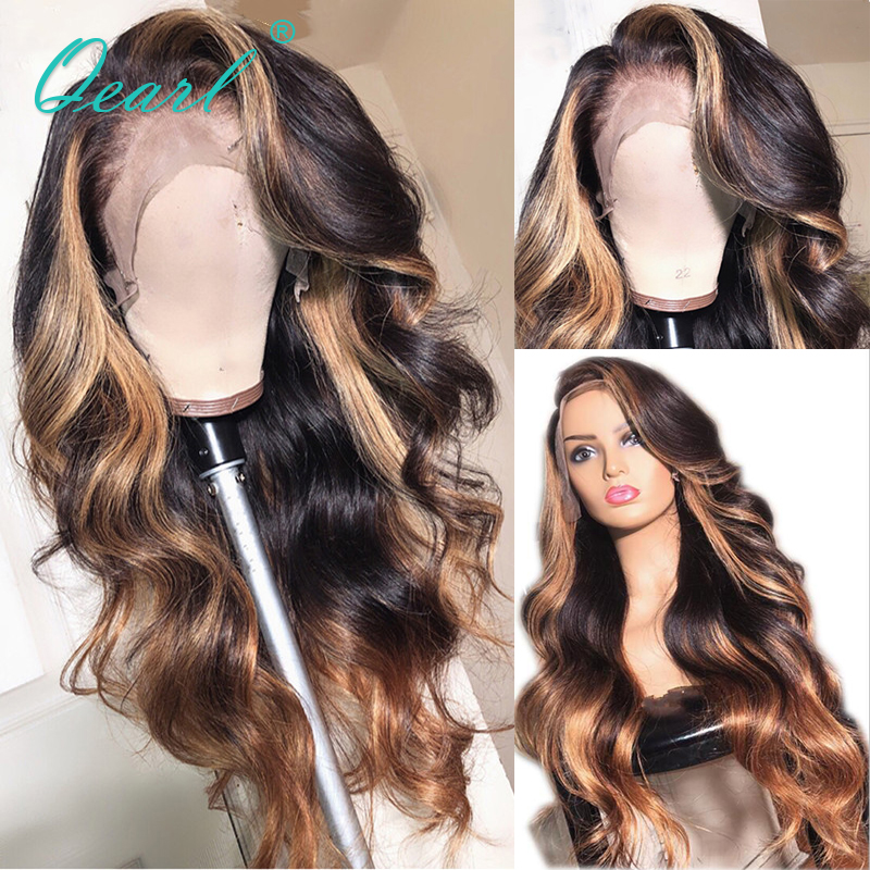 Long Deep Side Part Lace Front Human Hair Wigs Body Wave Ombre Highlights Brazilian Remy Hair Pre-Plucked Hairline 13x6 Qearl