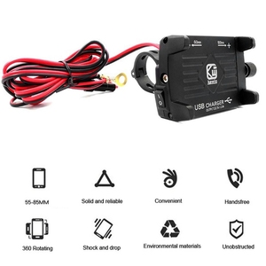Image 3 - 1 Set 7x5x10cm Red/Black/Blue/Silver Metal Motorcycle Handlebar Phone Mount Holder with USB Charger for Smartphone