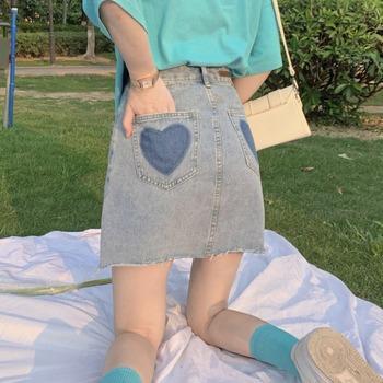2021 nowe letnie jasne kolor jeansowa spódniczka spódnica linii wysokiej talii miłość krótka spódnica kobiet krótka spódniczka jednokolorowe guziki słodkie spódnica tanie i dobre opinie Sunsee Sunling A-LINE COTTON POLIESTER CN (pochodzenie) Naturalne Stałe Powyżej kolana mini Dla osób w wieku 18-35 lat