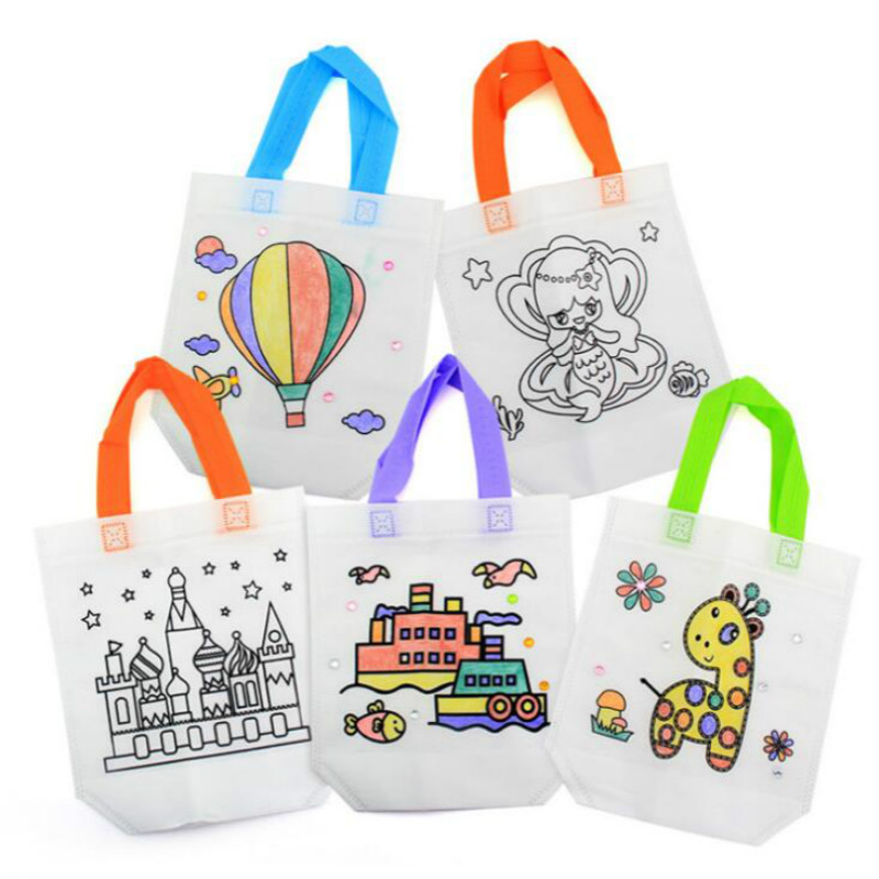 5pieces/set  Antistress Puzzles Educational Toy For Children DIY Eco-friendly Graffiti Bag Kindergarten Hand Painting Materials