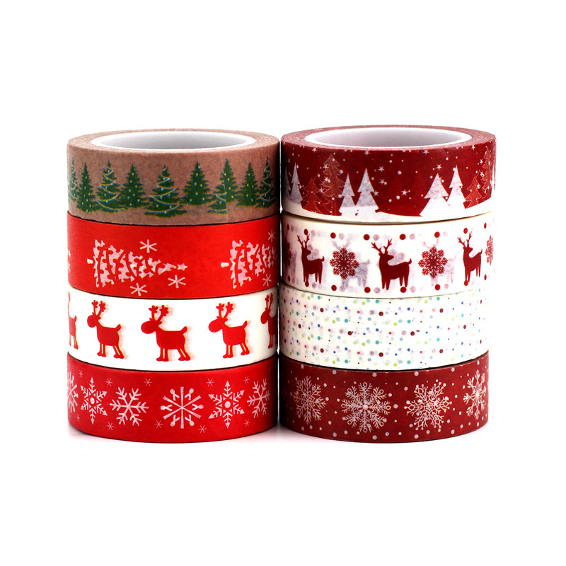 8 Designs Cute 15mmX10M Snow Deer Christmas Tree Decorative Washi Tape Set DIY Scrapbooking Masking Tape School Office Supply