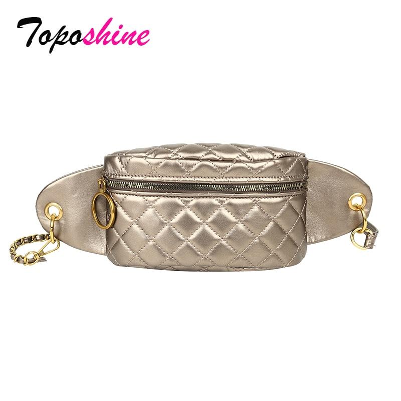 Toposhine Stitch Threads Women Waist Bag Cool Chain Decorate Fashion Girl Waist Bags Travel Convenient Phone Shoulder Bag 2019