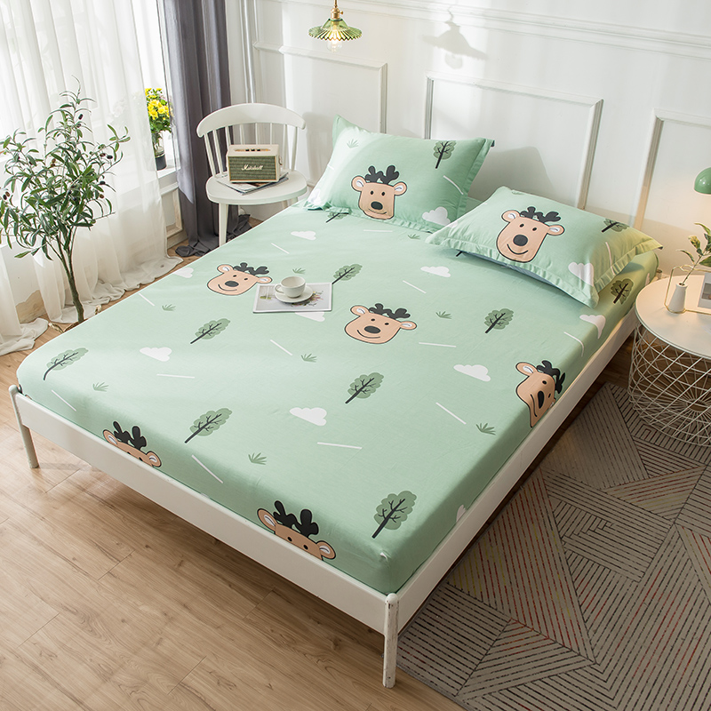 Cartoon Green Forest Fawn Printed Fitted Sheet Mattress Cover Four Corners With Elastic Band 1pc 100% Cotton Fabric Bed Sheet