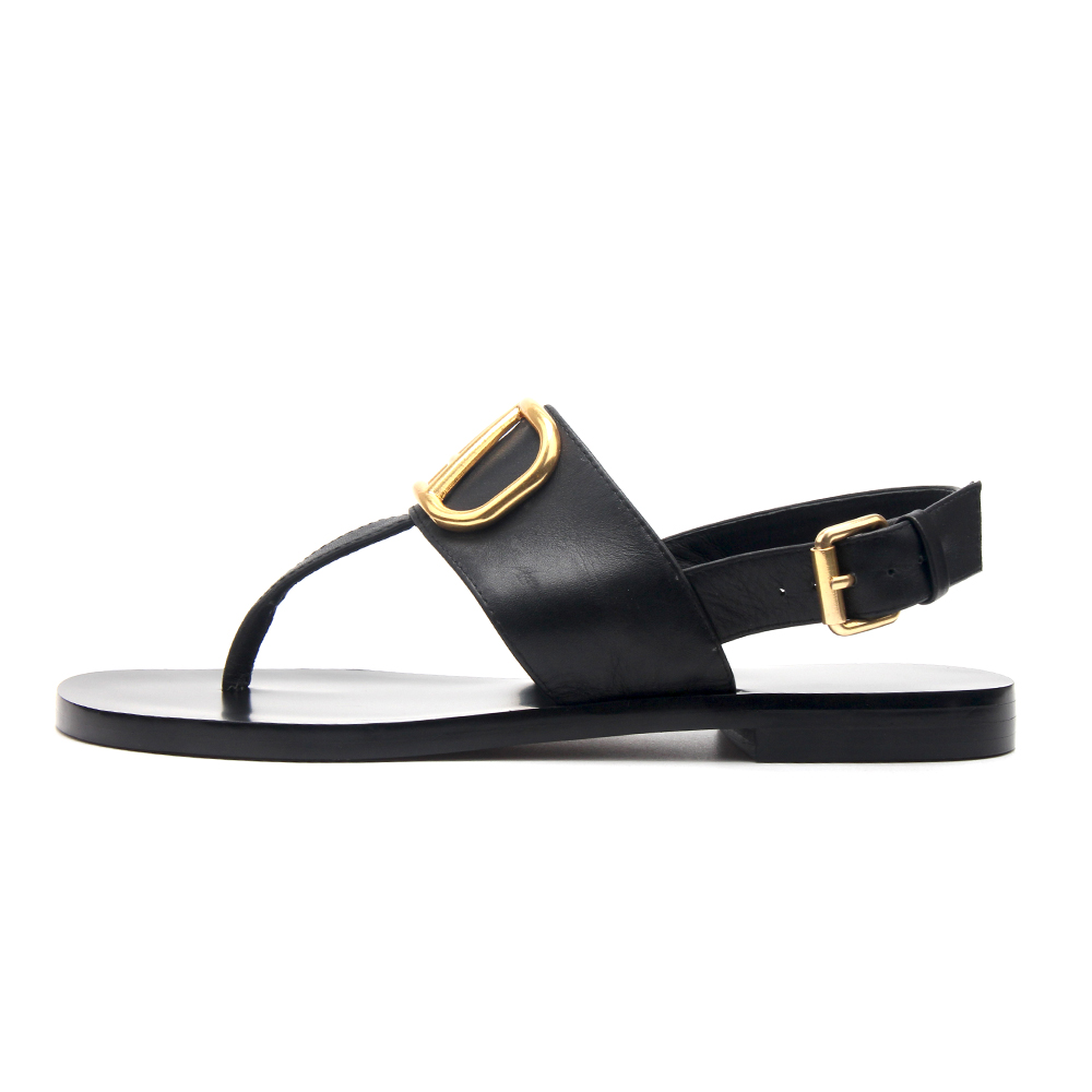 Brand Designer Leather Flat Flip Sandals 2020 Summer Shoes Women Metal V Slides & Ladies Slippers Fashion Luxury With Logo
