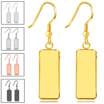 10 sztuk złączka ze stali nierdzewnej Fit 10x25mm prostokąt puste ustawienie podstawa fasety Cabochon kolczyk baza taca na kolczyki diy prezent tanie i dobre opinie BITWBI Earring Blank 2 5cm 20191011 1 3g Ocena biżuteria Kolczyk powrót Metal STAINLESS STEEL Gold Silver Platinum Black Rose Gold