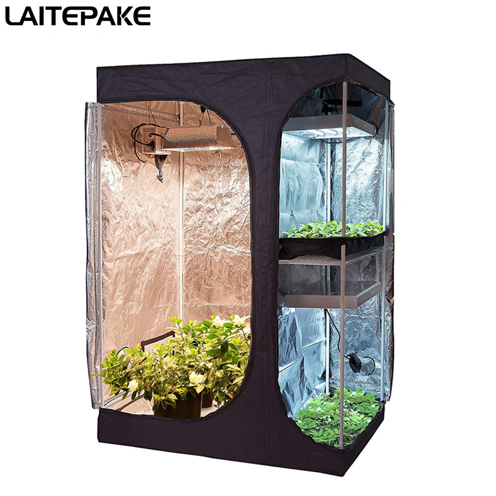 Two-In-One Grow Tent Double Layer Grow Box 90*60*135 Cm Indoor Grow Tent Iron Oxford Cloth 900D For Plant Nursery Growing
