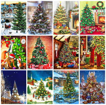HUACAN Diamond Painting Christmas Tree Full Square Embroidery Cartoon Home Decor Rhinestone Picture - discount item  30% OFF Arts,Crafts & Sewing