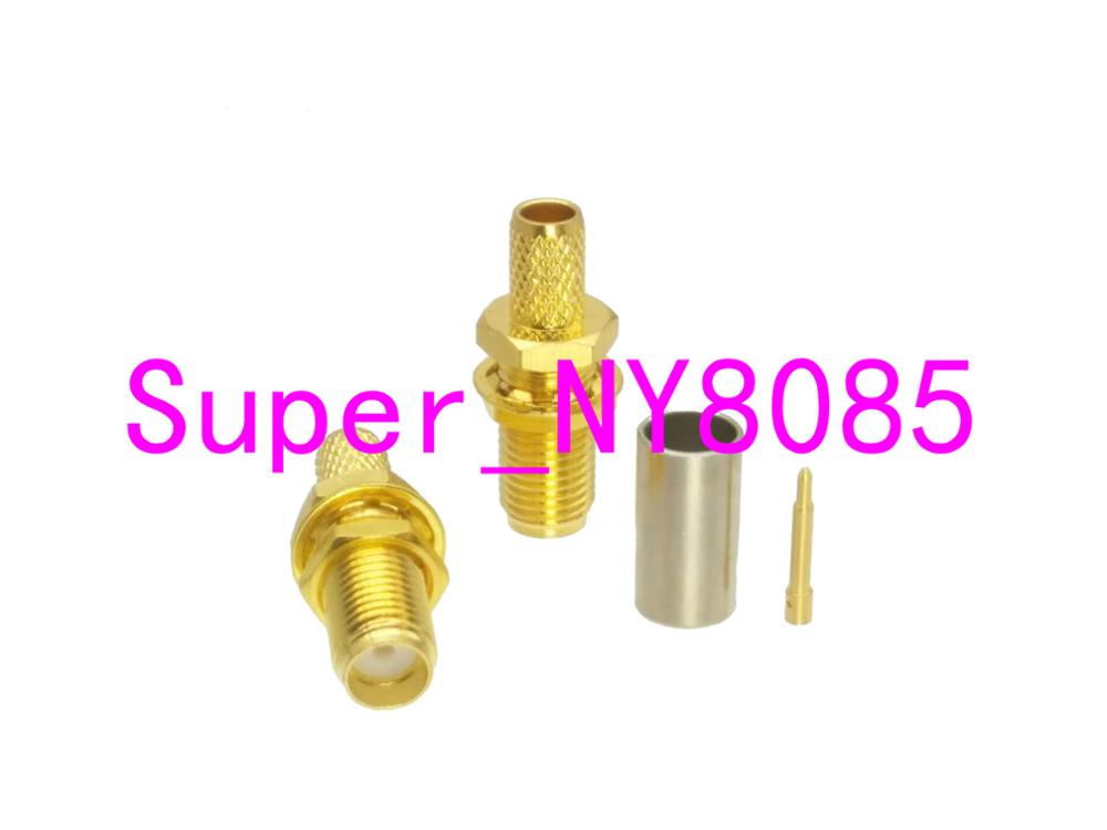 Connector RP.SMA Female Plug Nut Bulkhead Crimp RG58 RG142 LMR195 Cable RF Coaxial