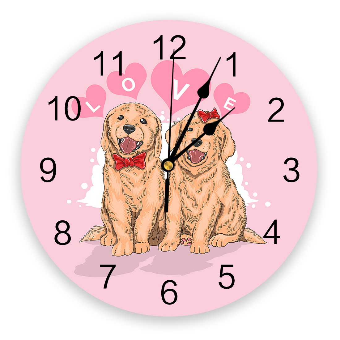 Valentine'S Day Pink Couple Pet Dog PVC Wall Clock Modern Design Home Decor Bedroom Silent O'clock Watch Wall For Living Room