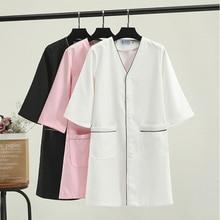Lab Coat Skin Management Medical Uniforms Beautician Dentist Jacket Mock Wrap Workwear Clothes Nursing Uniform Scrubs Women
