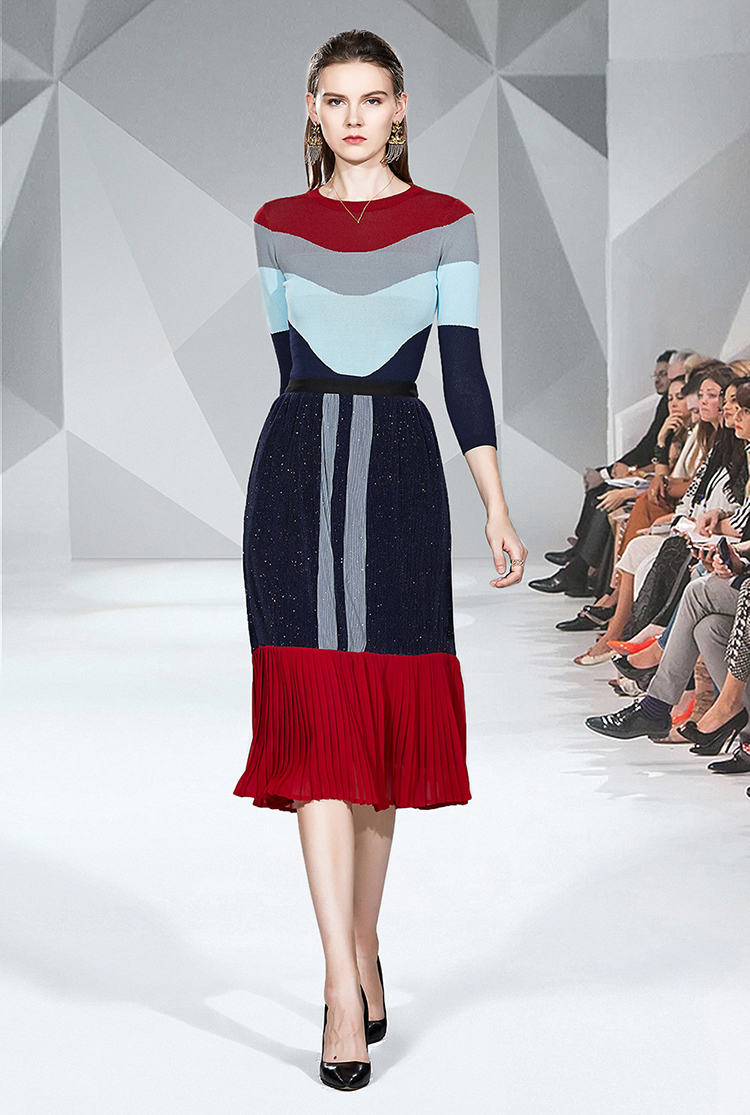 EAD Knit Skirt Set 2019 Autumn New Korean Fashion Temperament Stitching Light Familiar Wind Skirt Two-piece