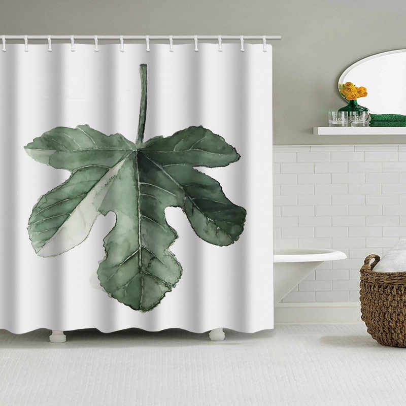 Verde Piante Tropicali Tenda Della Doccia Bagno Impermeabile Tenda della Doccia In Poliestere Foglie di Stampa Tende per il bagno doccia