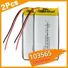 2PCS 103565 3.7 V lithium polymer battery 3000 mah DIY mobile power charging treasure battery For DVD GPS PSP Camera E-book