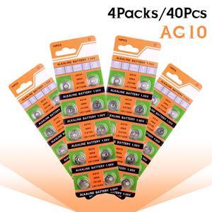 Для выведения токсинов, 40 шт AG10 щелочные батареи кнопки Batteria LR1130 V10GA 389 390 LR54 AG10 G10A SR1130 LR1130 390A D189 для измерители уровня холестерина