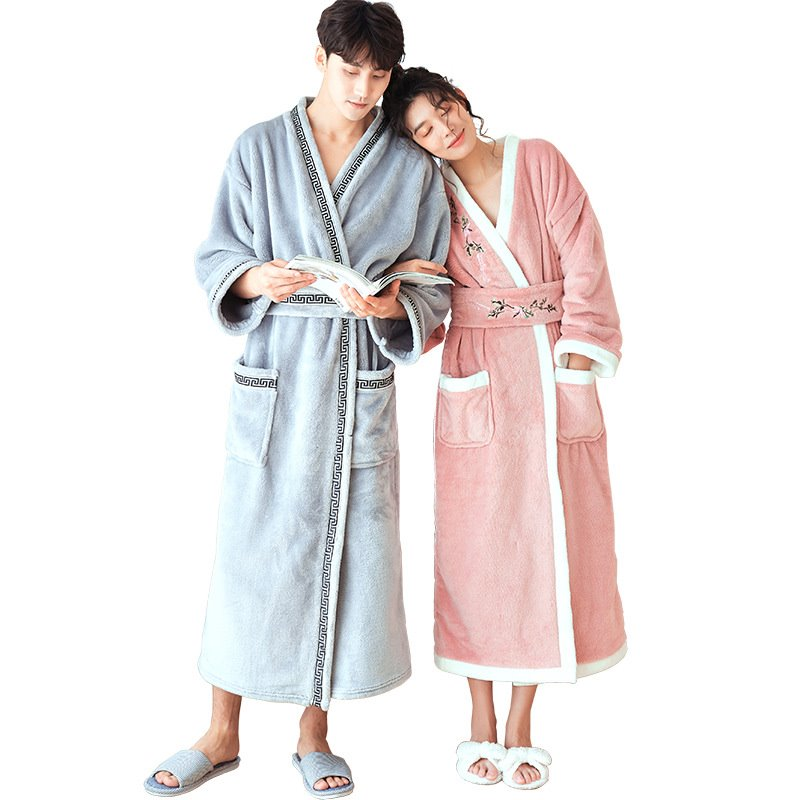Couple's nightgown Winter flannel thickening gown Men and Women matching long robe