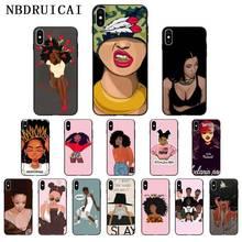 NBDRUICAI Black Girl Afro Melanin TPU Soft Silicone Phone Case Cover for iPhone 11 pro XS MAX 8 7 6 6S Plus X 5 5S SE XR case nbdruicai black women art and little girl fashion phone case cover for iphone 11 pro xs max 8 7 6 6s plus x 5 5s se xr case