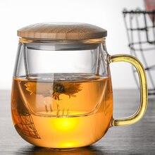 Kreatywny szklany zaparzacz do herbaty z przezroczystym uchwytem filtra bambusowa pokrywka żaroodporna kwiatowa filiżanka biurowa kubek do herbaty Drinkware