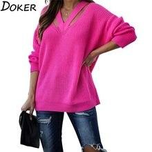 Otoño Invierno suéteres gruesos de la moda de las mujeres con cuello en V y manga larga de talla grande suelto cálido Pullover puente Vintage suéter de punto Femme