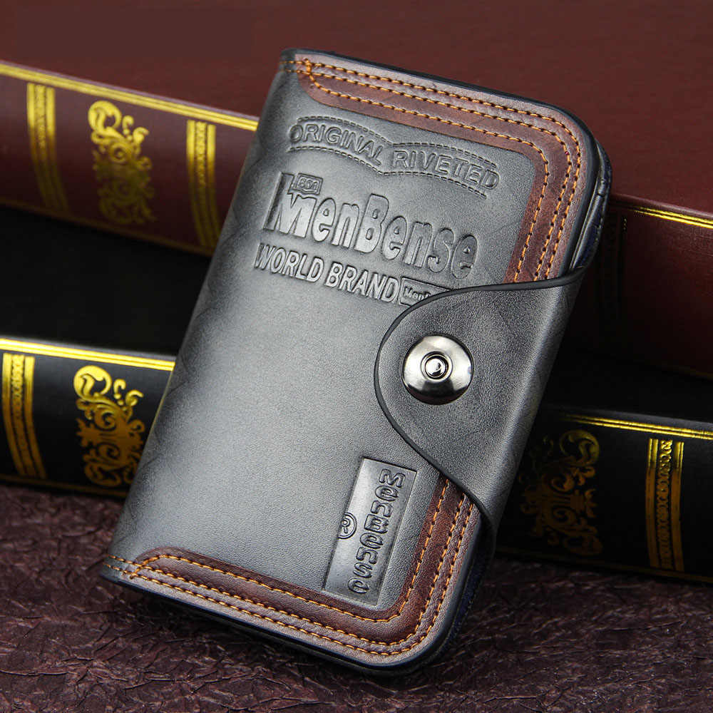 Vintage Pria Dompet Magnet Hook Tiga Lipat Dompet untuk Pria Terbuat dari Kulit Alami Kompartemen Dompet Pria Merek Terkenal luxu