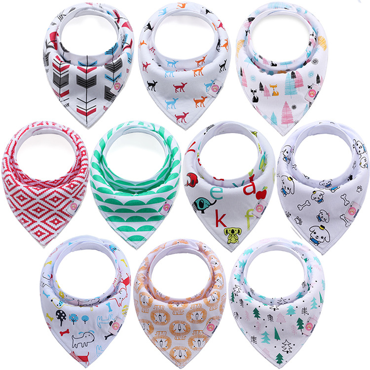 4pcs/ Set  Organic Cotton Baby Scarf Muslin Burp Cloth Baby Scarf Burp Cloth Bandana Bibs Newborn Baby Boy Infant Girl Toddler