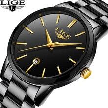 купить 2019 LIGE Fashion Business Men Watches Ultra-thin dial Stainless Steel Waterproof Quartz Watch Men Date Clock Relogio Masculino дешево