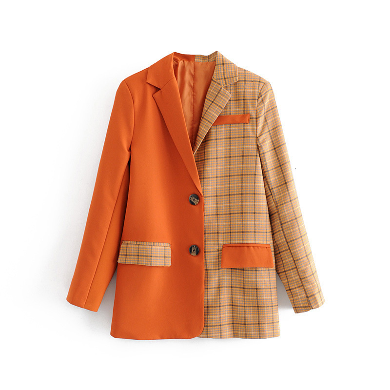 Women Solid Patchwork Elegant Blazer High Quality Plaid Jacket Coats Single Breasted Office Lady Work Coat Outerwear