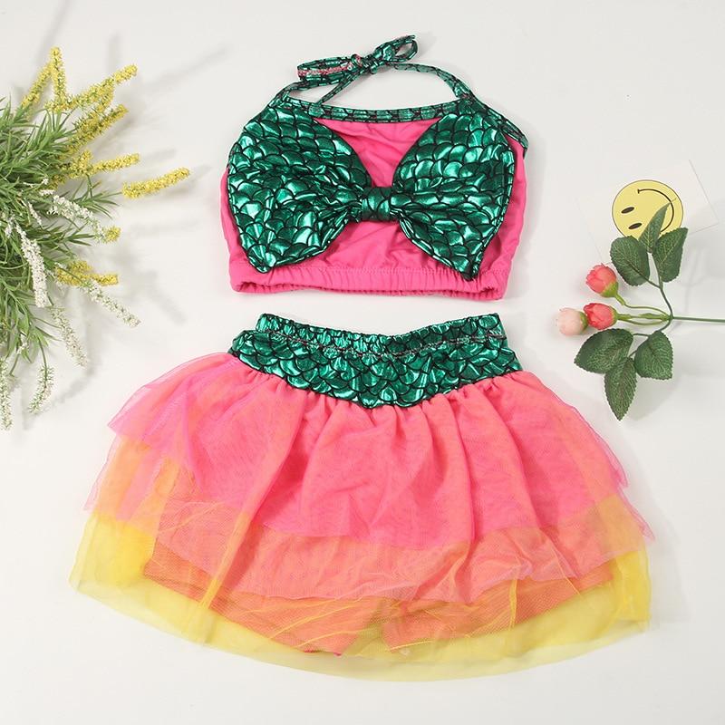 CHILDREN'S Swimsuit Women's Children Two-piece Swimsuits Mermaid Tour Bathing Suit With Bow Bathing Suit Wholesale