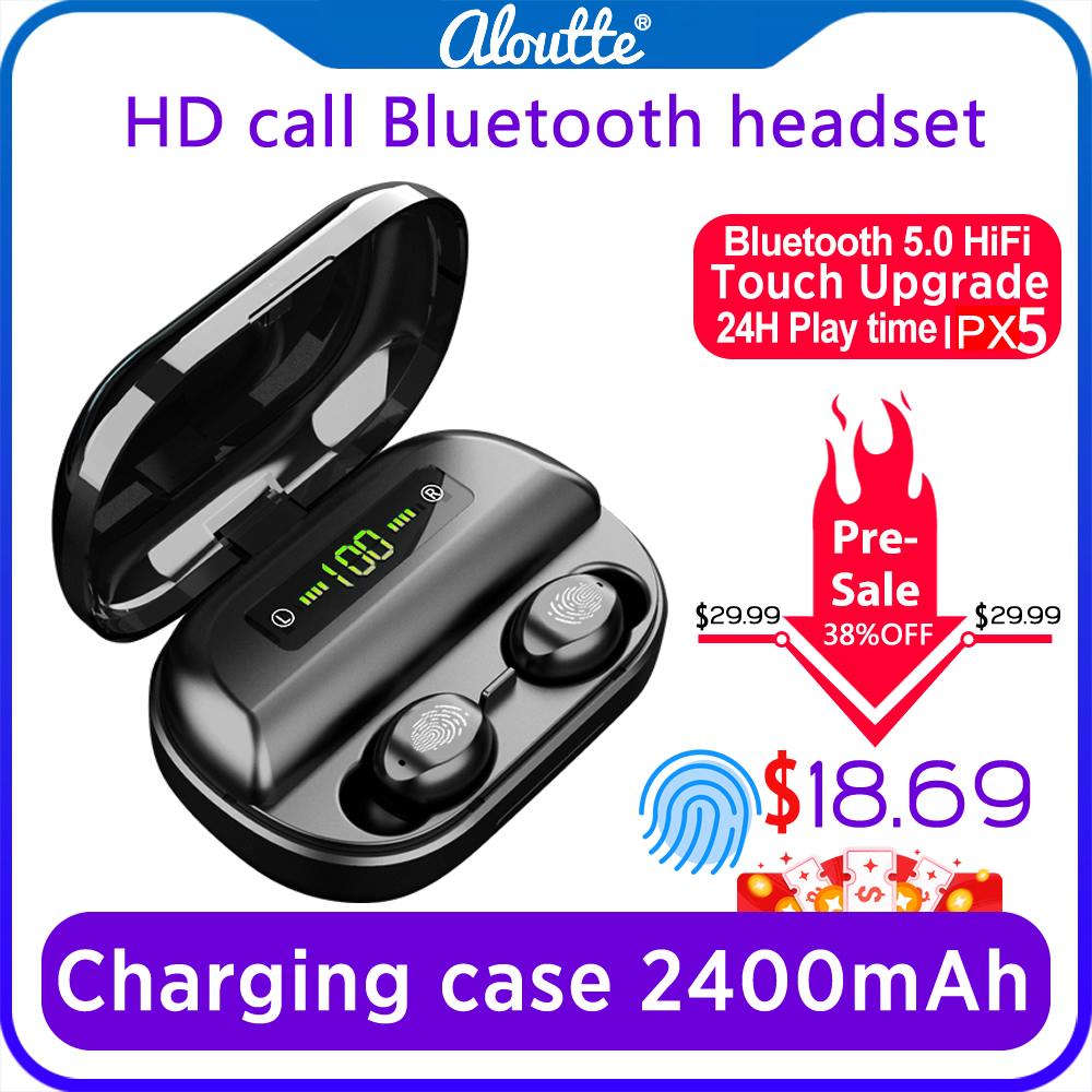 Tws Ohrstöpsel IPX5 <font><b>Wireless</b></font> <font><b>Sport</b></font> Bluetooth V 5,0 Headset mit Dual Mikrofon 2400mAh Mobile Power 9D Stereo HD Kopfhörer image