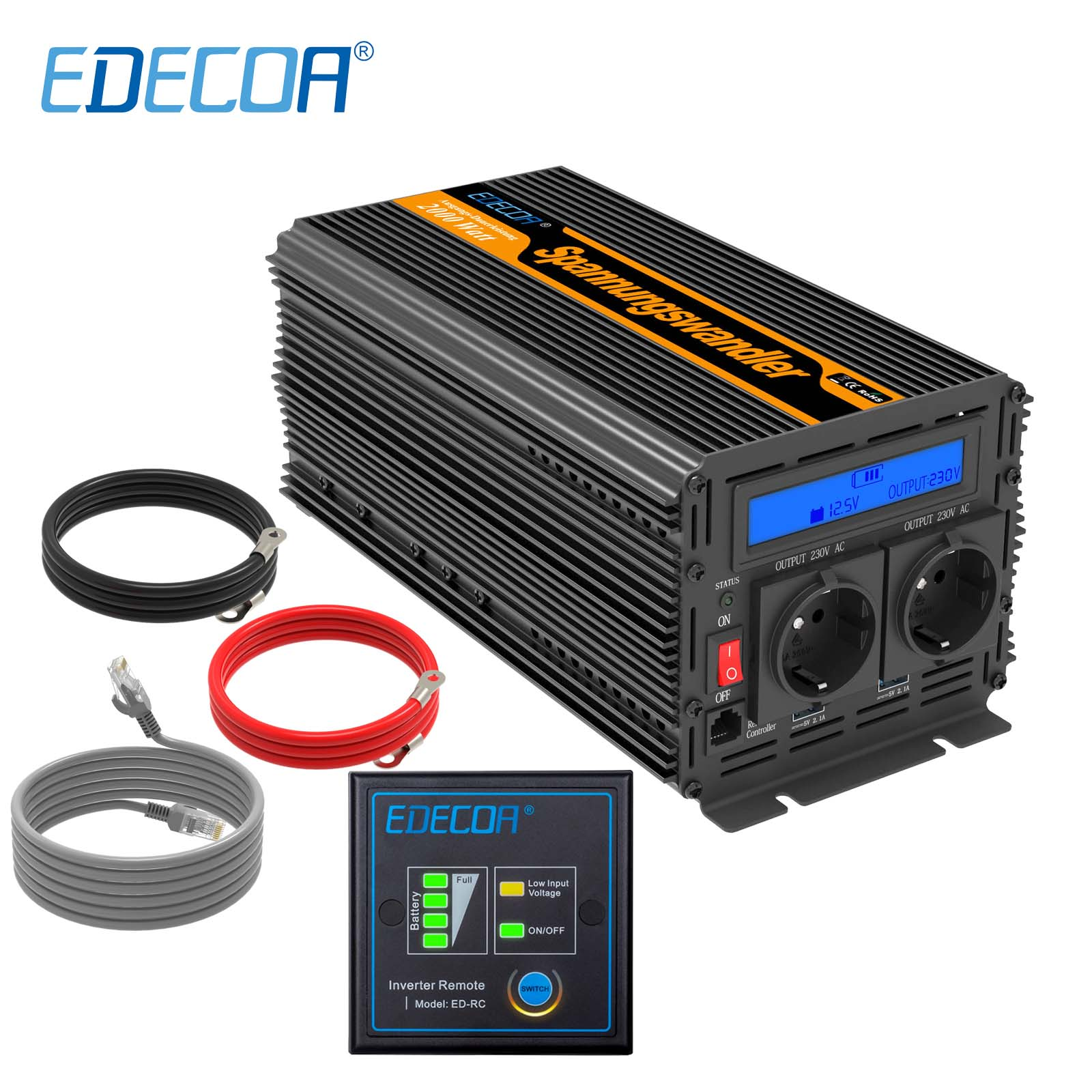 EDECOA power inverter 2000W 4000W modified sine wave DC 12V AC 220V 230V with remote controller and 5V 2.1A USB LCD display