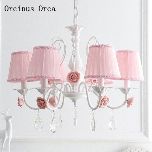 European Romantic Pink Rose Chandelier Girl Bedroom Children's Room Princess Room Lamp Korean Rural Flower Chandelier
