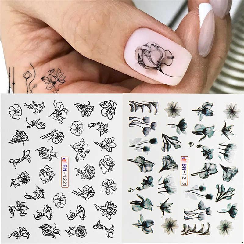 1Pcs Hitam Putih Bunga Daun Nail Art Stiker Slider Air Transfer Stiker Geometri Seni Kuku Wraps Manikur Dekorasi Tato