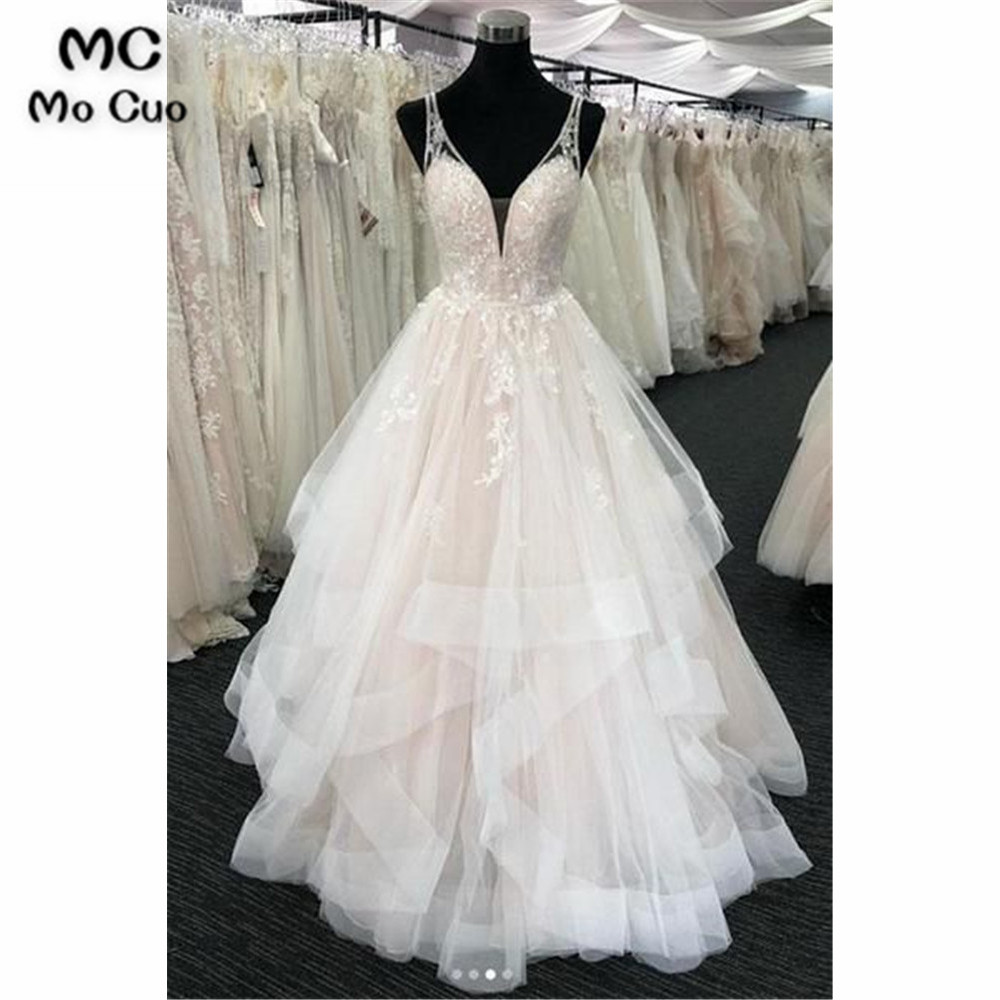 Vintage Ruffles Wedding Dresses Corset Bodice Tank Appliques Beaded V-Neck Tulle Bridal Gown Backless Wedding Gowns