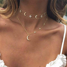 Fashion Multilayer Moon Star Crystal Pendant Necklace For Women Female Gold Collar Necklaces Pendants Jewelry Gift